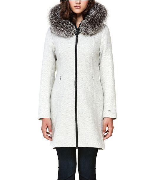 Soia & Kyo Hooded Fur-Trim Coat, Created for Macy's