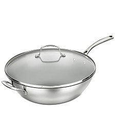 """Cuisinart Forever Stainless 14"""" Non-Stick Stir Fry Pan & Lid"""