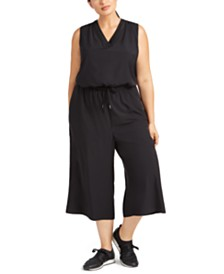 Ideology Plus Size Sleeveless Drawstring-Waist Cropped Jumpsuit, Created for Macy's