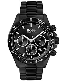 Men's Chronograph Hero Black Ion-Plated Stainless Steel Bracelet Watch 43mm