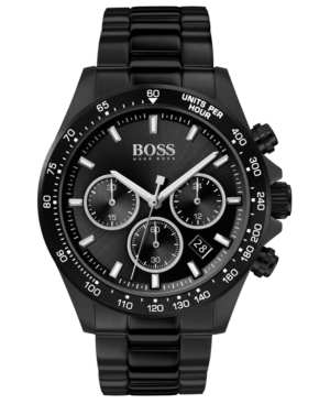 Boss Watches MEN'S CHRONOGRAPH HERO BLACK ION-PLATED STAINLESS STEEL BRACELET WATCH 43MM