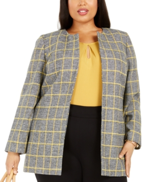 1950s Jackets, Coats, Bolero | Swing, Pin Up, Rockabilly Kasper Plus Size Plaid Open-Front Blazer $73.99 AT vintagedancer.com