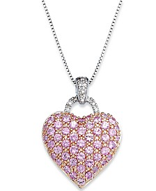 Pink Sapphire (2-1/4 ct. t.w.) and  Diamond Accent Heart Pendant Necklace in Sterling Silver