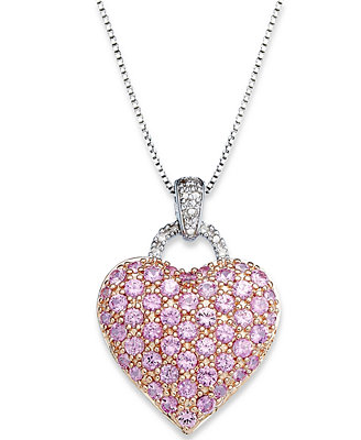 pink sapphire 214 ct tw and diamond accent heart