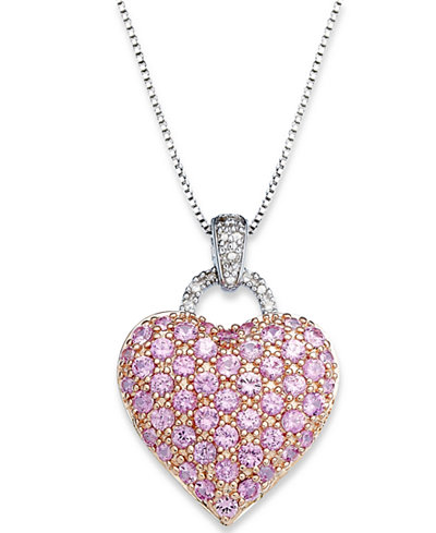 Pink sapphire 2 14 ct tw and diamond accent heart pendant pink sapphire 2 14 ct tw and diamond accent heart mozeypictures Choice Image