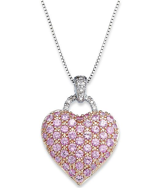 Macy's Pink Sapphire (2-1/4 ct. t.w.) and  Diamond Accent Heart Pendant Necklace in Sterling Silver (Also available in Blue Sapphire)