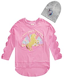 Big Girls 2-Pc. Sequined Unicorn Bow Sweatshirt & Beanie Set