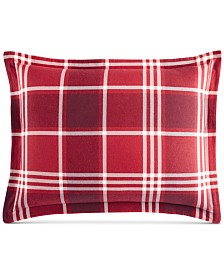Martha Stewart Collection Ticking Plaid Flannel Standard Sham, Created for Macy's