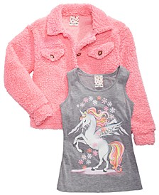 Big Girls 2-Pc. Unicorn Tank Top & Fleece Jacket Set