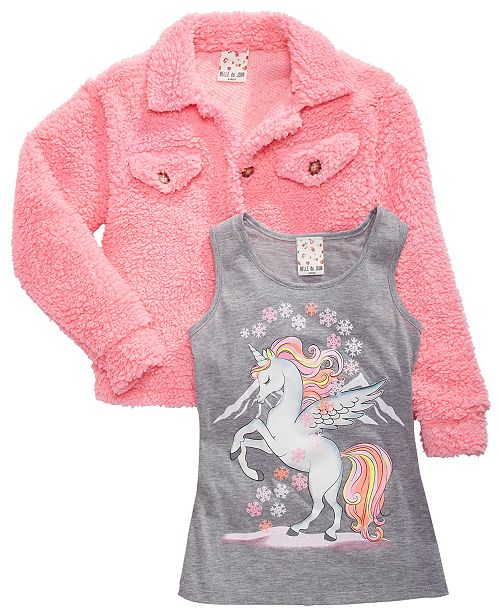 Belle Du Jour Big Girls 2-Pc. Unicorn Tank Top & Fleece Jacket Set