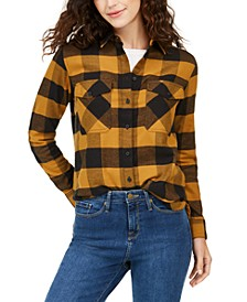 Cotton Elbow-Patch Plaid Flannel Shirt