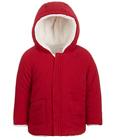 Baby Boys Reversible Faux Sherpa Crepe Hooded Jacket, Created for Macy's