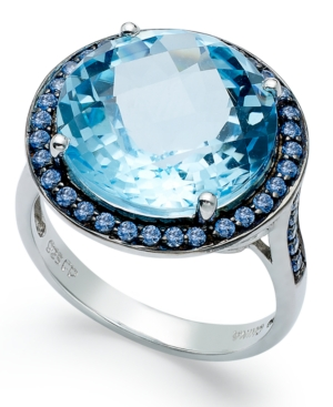 Sterling Silver Ring, Blue Swarovski Zirconia (5/8 ct. t.w.) and Blue Topaz (11 ct. t.w.) Round Halo Ring