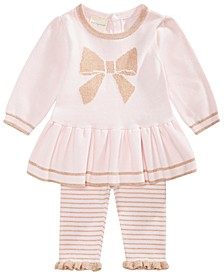 Baby Girls 2-Pc. Bow Sweater Tunic & Striped Tights Set, Created for Macy's