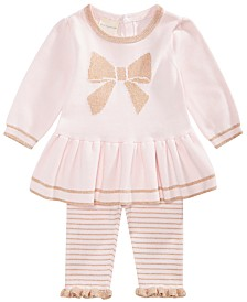 First Impressions Baby Girls 2-Pc. Bow Sweater Tunic & Striped Tights Set, Created for Macy's