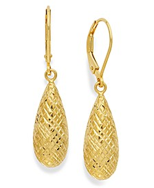 18k Gold over Sterling Silver Earrings, Diamond-Cut Teardrop Leverback Earrings