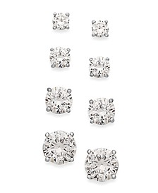 Cubic Zirconia Stud Set in 18k Gold over Sterling Silver