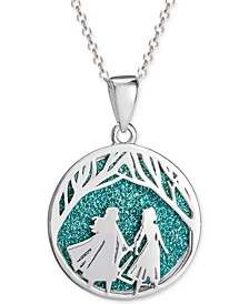 "Children's Frozen Glitter Pendant Necklace in Sterling Silver, 16"" + 2"" Extender"