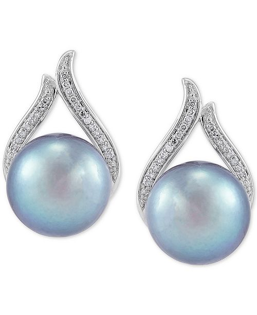 Honora Cultured Gray Ming Pearl (11mm) & Diamond (1/8 ct. t.w.) Stud Earrings in 14k White Gold