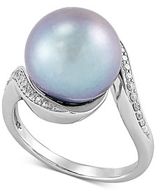 Honora Cultured Grey Ming Pearl (12mm) & Diamond (1/8 ct. t.w.) Statement Ring in 14k White Gold
