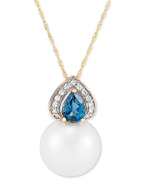 "Honora Cultured White Ming Pearl (13mm), Diamond (1/10 ct. t.w.) & London Blue Topaz (7/8 ct. t.w.) 18"" Pendant Necklace in 14k Gold"