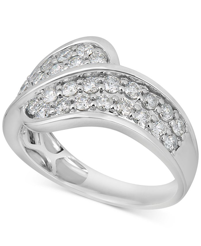 Macy's - Diamond Overlap Statement Ring (1 ct. t.w.) in 14k White Gold