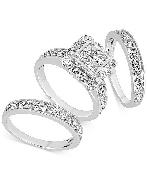 Macy's Diamond Princess Halo Bridal Set (3 ct. t.w.) in 14k White Gold