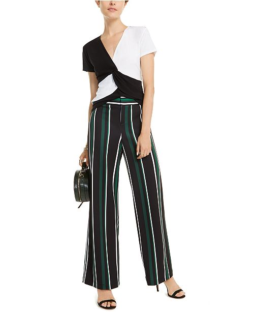 INC International Concepts I.N.C. Colorblocked Twist-Front Top & Striped Wide-Leg Pants, Created for Macy's