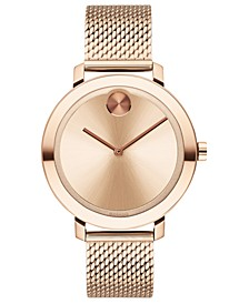 Women's Evolution Swiss Bold Carnation Gold Ion-Plated Stainless Steel Mesh Bracelet Watch 34mm