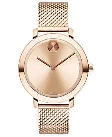 Movado Women's Evolution Swiss Bold Carnation Gold Ion-Plated Stainless Steel Mesh Bracelet Watch 34mm