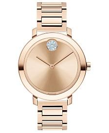Movado Women's Evolution Swiss BOLD Carnation Gold-Tone Stainless Steel Bracelet Watch 34mm