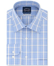 Eagle Men's Classic/Regular-Fit Non-Iron Stretch-Collar Plaid Dress Shirt