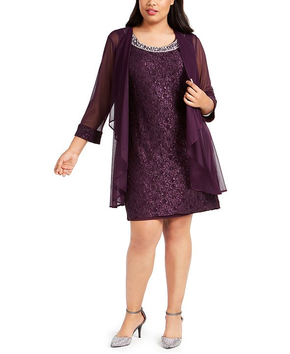 R & M Richards Plus Size Lace Dress & Jacket