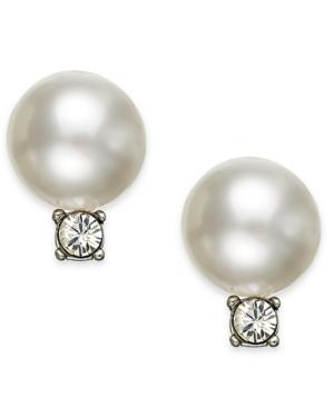 Swarovski Earrings, Rhodium-Plated Crystal Pearl Drop Earrings Stud Earrings