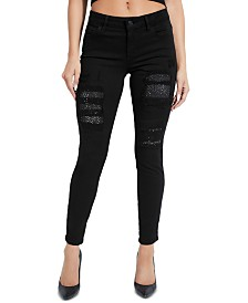 GUESS Ripped Rhinestone-Embellished Skinny Jeans