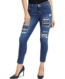 GUESS Sexy Curve Rhinestone-Embellished Rip & Repair Jeans