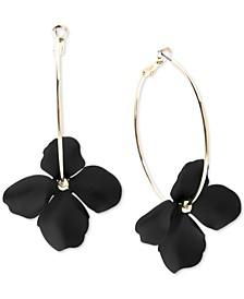 Gold-Tone & Suede-Painted-Finish Flower Hoop Earrings