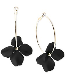 Zenzii Gold-Tone & Suede-Painted-Finish Flower Hoop Earrings