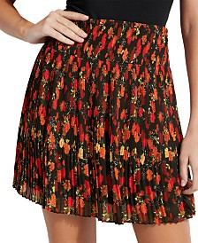 GUESS Lolana Floral-Print Pleated Skirt