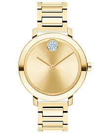 Women's Evolution Swiss Bold Gold Ion-Plated Stainless Steel Bracelet Watch 34mm