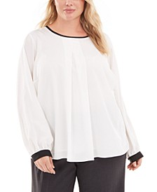 Plus Size Contrast-Trim Pleated Top