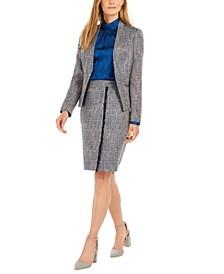 Asymmetrical Tweed Jacket, Printed Mock-Neck Top & Tweed Pencil Skirt
