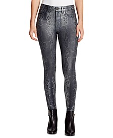 Sculpted Coated Snake-Print Skinny Jeans