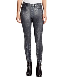 WILLIAM RAST Sculpted Coated Snake-Print Skinny Jeans