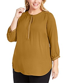 Plus Size Embellished Pleated-Back Blouse, Created for Macy's