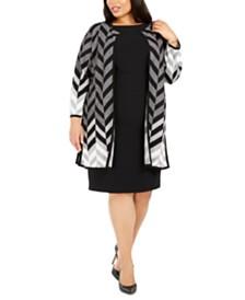 Kasper Plus Size Chevron Cardigan Sweater