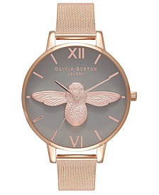 Women's 3D Bee Rose Gold-Tone Stainless Steel Mesh Bracelet Watch 38mm