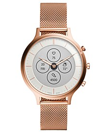 Tech Charter Rose Gold-Tone Stainless Steel Mesh Bracelet Hybrid Smart Watch 42mm