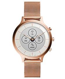 Tech Charter Rose Gold-Tone Stainless Steel Mesh Bracelet Hybrid Smart Watch 42mm