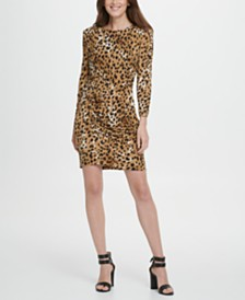 DKNY Long Sleeve Animal Print Side Ruche Sheath Dress